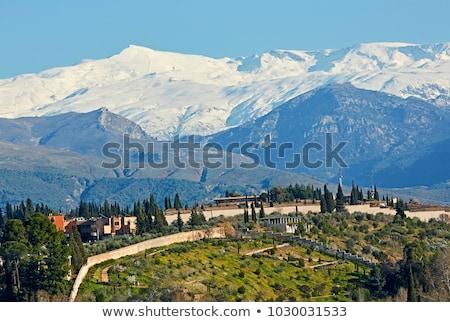 Város hegyek Nevada Spanyolország festői idilli Stock fotó © amok