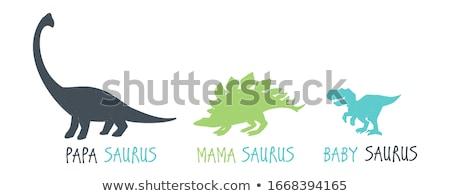 Dinosaures famille illustration amour Homme peur Photo stock © adrenalina
