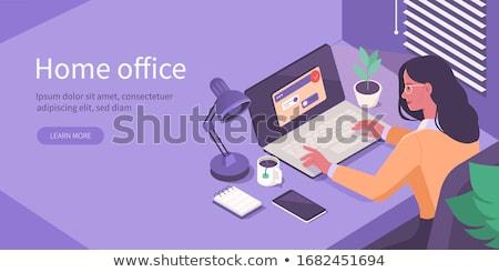 Vetor isométrica escritório em casa quarto escritório local de trabalho Foto stock © tele52