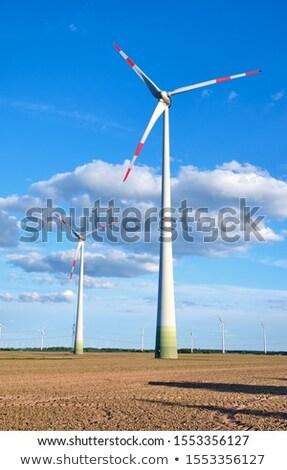 Wind Räder unfruchtbar Bereich Himmel Technologie Stock foto © elxeneize