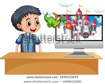 Boy next to computer fairy tale screen Stock photo © bluering