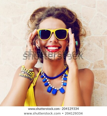 Portrait of a beautiful young woman with jewelery on her forehea Stock photo © HASLOO