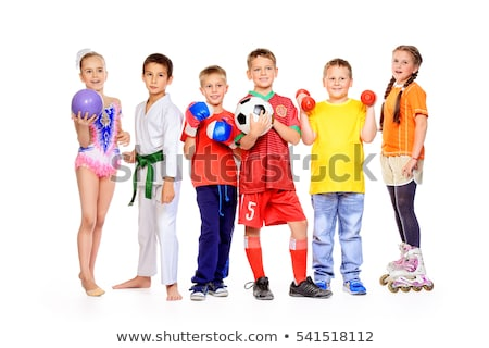 Child is engaged in gymnastics isolated on white Stock photo © pzaxe