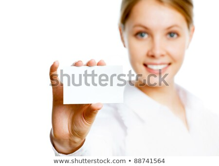 Business woman holding her visiting card Stock photo © AGorohov