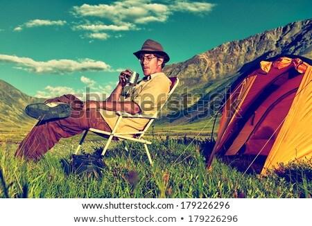 Tourist in Altai camp Stock photo © zastavkin