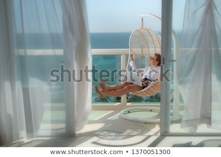 business woman with laptop at the sea Stock photo © toocan