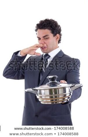 fiatal · üzletember · vacsora · izolált · fehér · étel - stock fotó © feelphotoart
