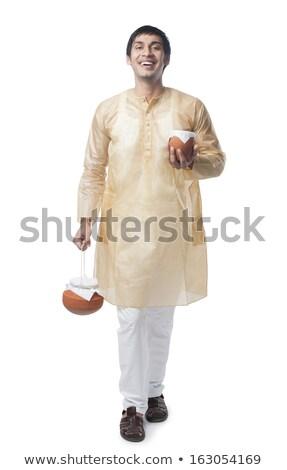 Férfi hordoz edény portré mosolyog boldogság Stock fotó © imagedb