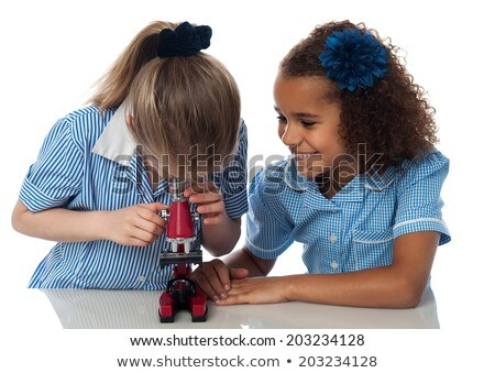 Two kids using microscope Stock photo © IS2