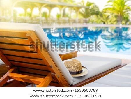 соломенной шляпе палуба Председатель Бассейн лет утра Сток-фото © stevanovicigor