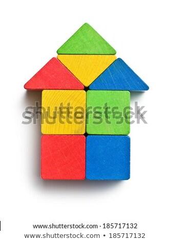 Casa brinquedo de madeira blocos colorido branco negócio Foto stock © wavebreak_media