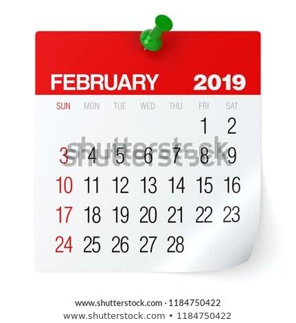 2019 year. Calendar for February. Isolated 3D illustration Stock photo © ISerg