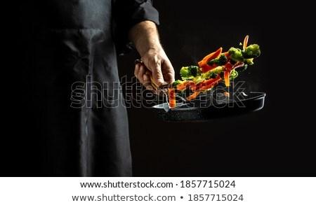 Zöldségek felhő férfi szakács rajzolt konyha Stock fotó © ra2studio