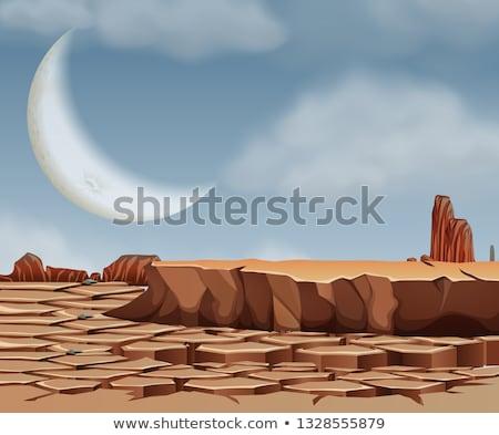 desert scene with cresent moon stock photo © bluering