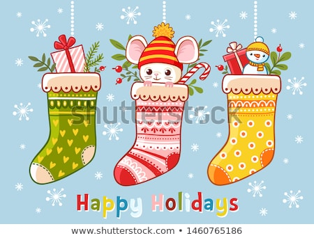 Christmas theme set with kids and presents Stock photo © colematt