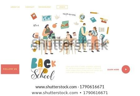 çocuklar öğle yemeği kutu iniş sayfa işkadını Stok fotoğraf © RAStudio