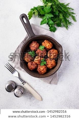 eigengemaakt · rundvlees · gehaktballetjes · top · vlees - stockfoto © furmanphoto