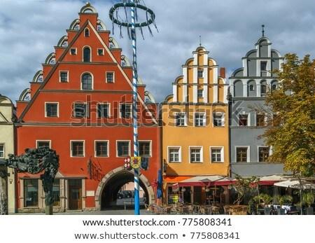 fő- · tér · Németország · színes · történelmi · házak - stock fotó © borisb17