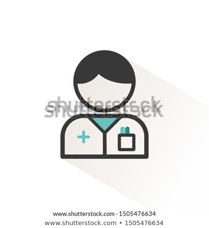 Pharmacist man. Flat icon with beige shade. Profession avatar. P Stock photo © Imaagio