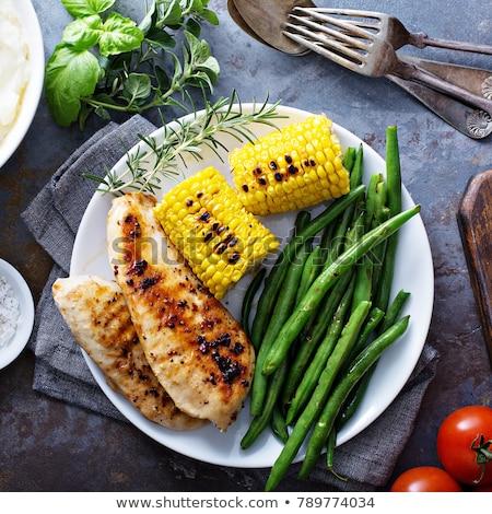 куриные зеленая фасоль жареная курица груди пластина продовольствие Сток-фото © tycoon