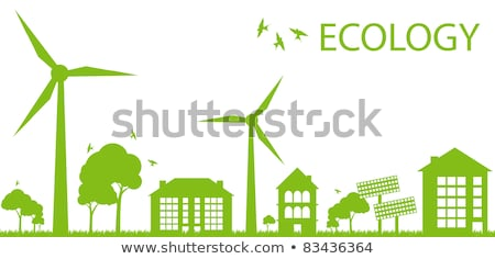 Scene with buildings with turbines and solar cell Stock photo © bluering