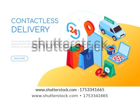 Contactless delivery - modern colorful isometric web banner Stock photo © Decorwithme