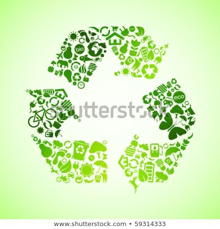 résumé · brillant · vert · recycler · icône · affaires - photo stock © rioillustrator
