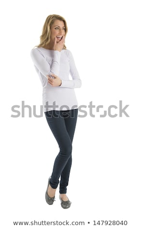 Belleza mujer lejos mano barbilla Foto stock © feedough