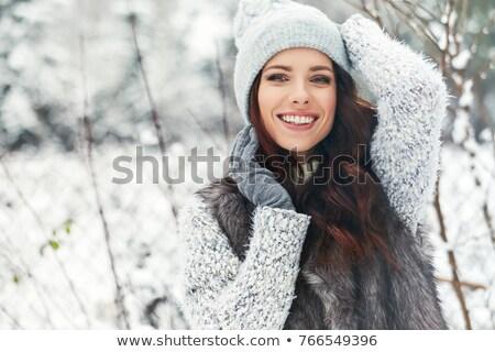 gyönyörű · lány · szőrös · kalap · tél · nő · portré · divat - stock fotó © stryjek