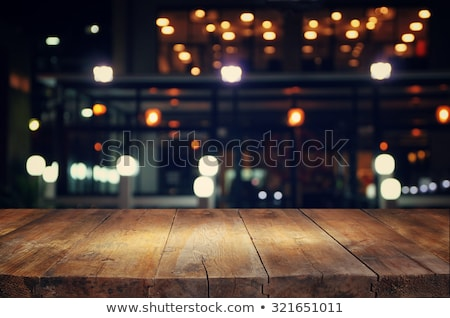 Houten tafel bokeh lichten afbeelding gratis ruimte Stockfoto © w20er