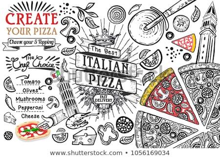 pizza · İtalyan · mutfak · yalıtılmış · stüdyo · beyaz - stok fotoğraf © fanfo