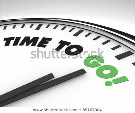 Uhr Wort Arbeit Holztisch Büro Zeit Stock foto © fuzzbones0
