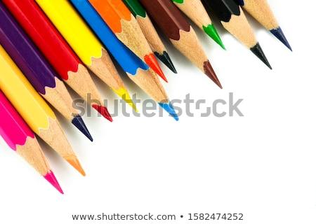 Photo stock: Crayons · crayons · isolé · blanche · peinture · orange