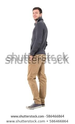 feliz · coupe · junto · atención · selectiva · mirando · cámara - foto stock © lightfieldstudios
