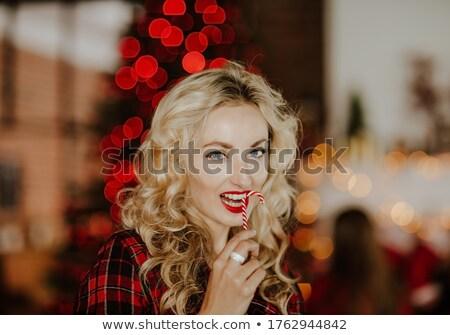 Fiatal csinos nő pizsama pózol kék feketefehér Stock fotó © ruslanshramko