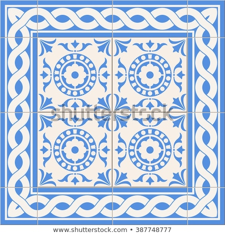 Portuguese vector Azulejo tile seamless pattern, Lisbon retro old tiles mosaic, Mediterranean repeti Stock photo © RedKoala