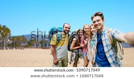 笑顔の女性 リュックサック ヴェネツィア ビーチ 冒険 旅行 ストックフォト © dolgachov