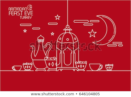 red eid mubarak background with moon and star decoration Stock photo © SArts