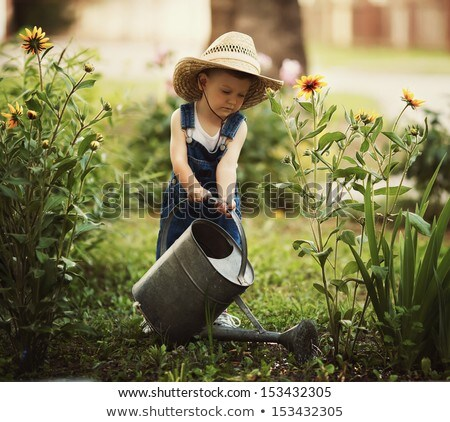 Small Kid Boy Caring for Nature Watering Plant Stock photo © robuart