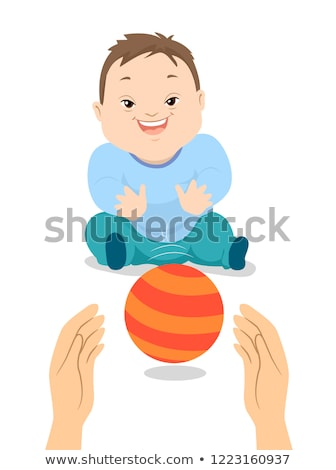 Baby Boy Down Syndrome Play Ball Illustration Stock photo © lenm
