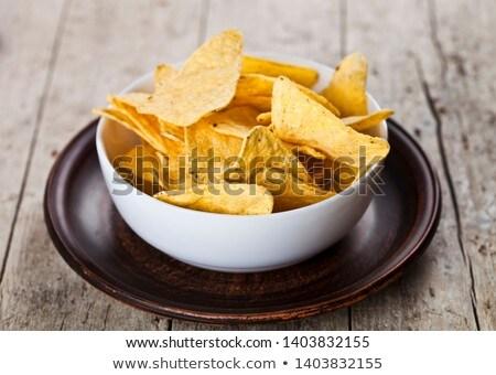 Mexicaanse nachos chips witte kom bruin Stockfoto © marylooo