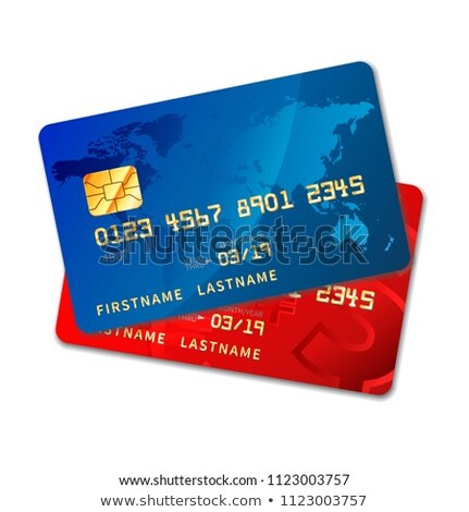Two bright colourful credit cards with chip on white Stock photo © evgeny89