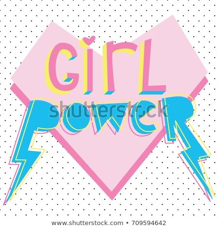 少女 電源 スローガン かわいい スタイル ベクトル ストックフォト © yopixart