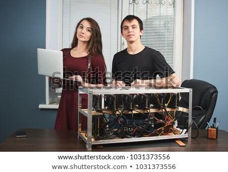 Młody człowiek wydobycie domu komputera Internetu szczęśliwy Zdjęcia stock © Elnur