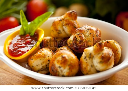 Stock fotó: Cheese Balls With Garlic Sauce