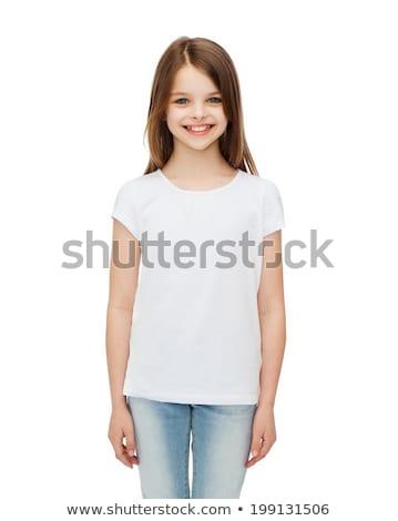 modest girl isolated on white stock photo © artjazz
