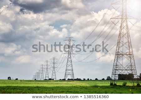 Elektrik altında güç tel mavi gökyüzü Stok fotoğraf © russwitherington