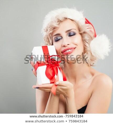 mosolyog · hölgy · mikulás · portré · csinos · fiatal · nő - stock fotó © photosebia