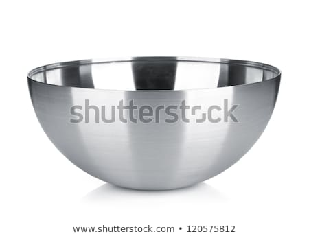 Tazón acero inoxidable blanco fondo metal acero Foto stock © shutswis
