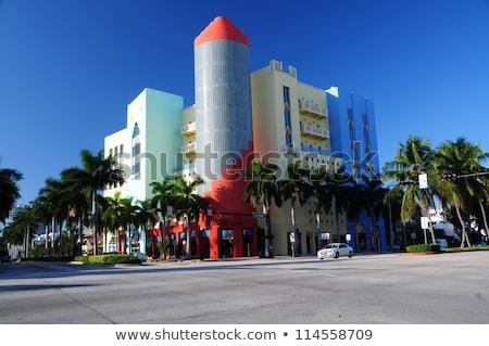 Klasszikus art deco kerület autó tengerpart Florida Stock fotó © lunamarina